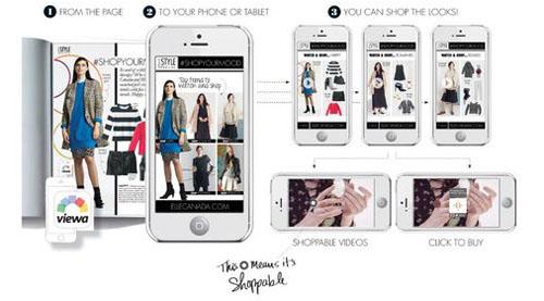 無料アプリ「Viewa」をダウンロードしたうえでスマホやタブレットを誌面にかざすと、画面に動画が流れ、気になるアイテムがあればそのまま商品を購入できる仕掛けを施